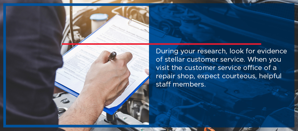 Review repair shop customer services