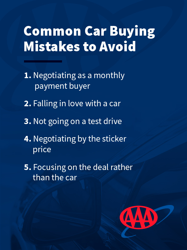 Common mistakes for buying a new car