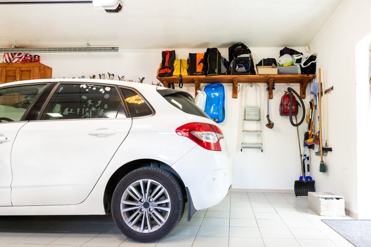 White car in garage